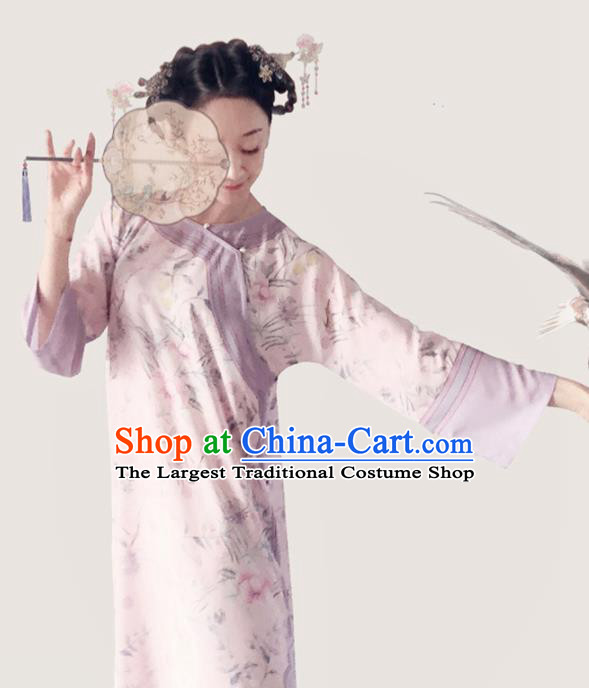Traditional Chinese Printing Light Pink Cheongsam Tang Suit Qipao Dress National Costume for Women