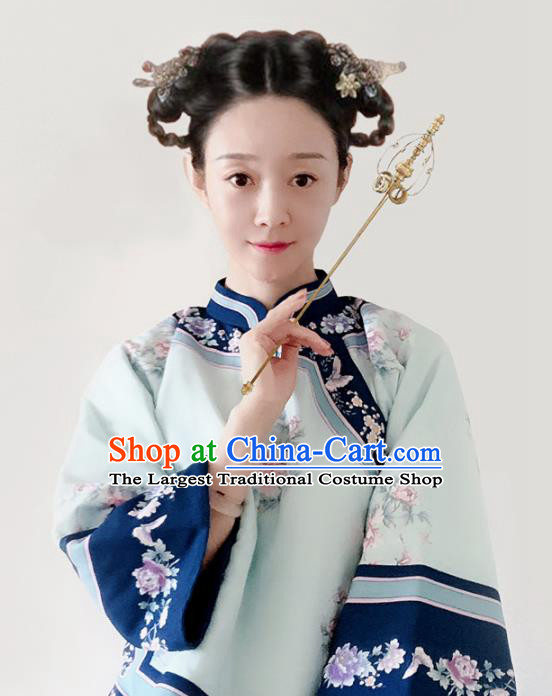 Traditional Chinese Tang Suit Printing Peony Green Blouse Upper Outer Garment National Costume for Women
