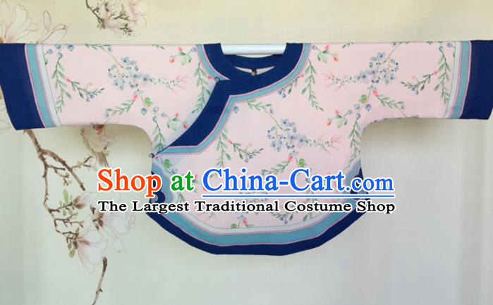 Traditional Chinese Tang Suit Printing Pink Blouse Upper Outer Garment National Costume for Women