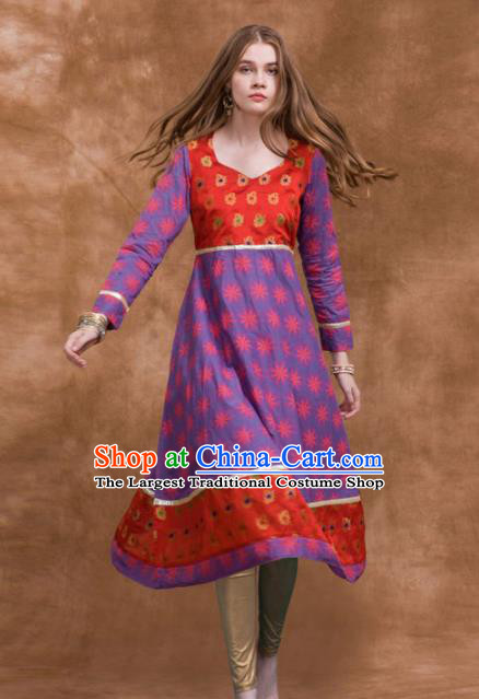 South Asian India Traditional Costume Purple Dress Asia Indian National Punjabi Suit for Women