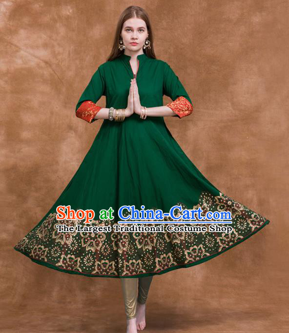 South Asian India Traditional Costume Green Dress Asia Indian National Punjabi Suit for Women