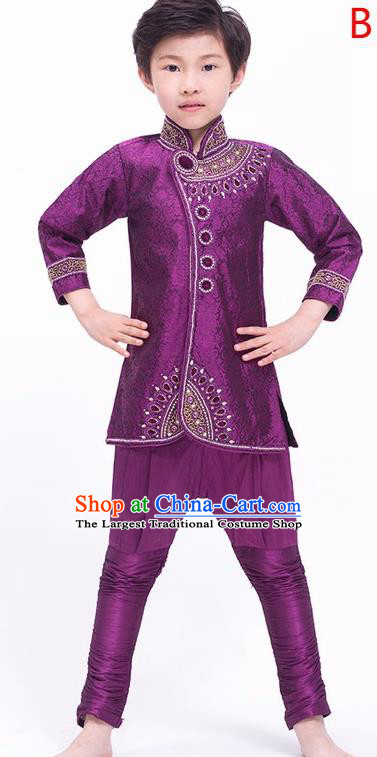 South Asian India Traditional Costume Shirt and Pants Asia Indian National Purple Suit for Kids