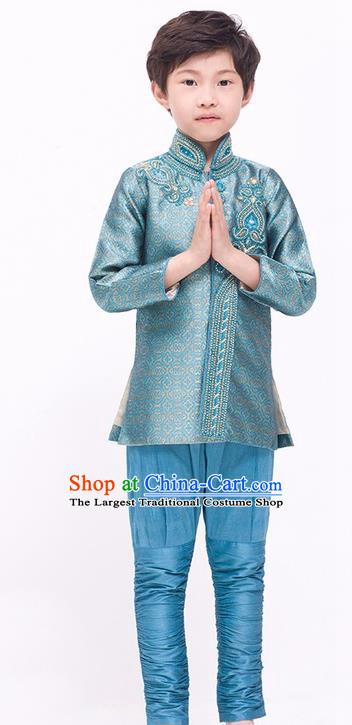 South Asian India Traditional Costume Lake Blue Shirt and Pants Asia Indian National Suit for Kids