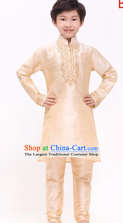South Asian India Traditional Costume Champagne Shirt and Pants Asia Indian National Suit for Kids