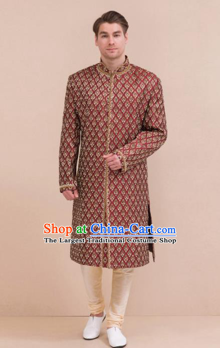 South Asian India Traditional Costume Wine Red Robe and Pants Asia Indian National Suit for Men