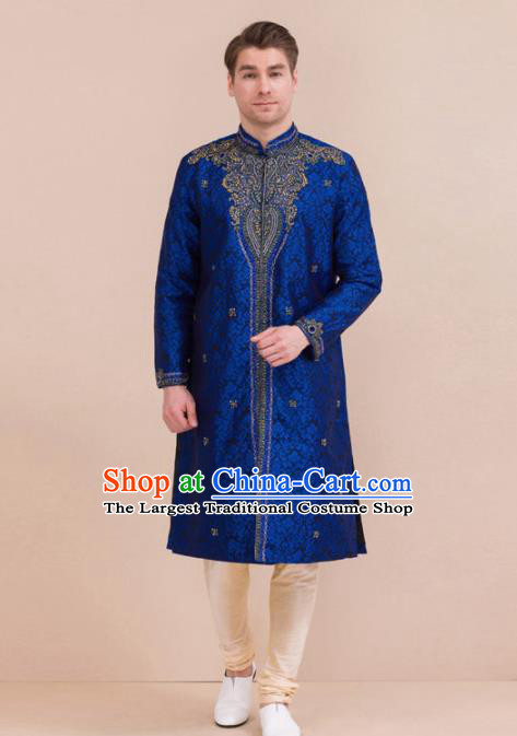 South Asian India Traditional Costume Royalblue Robe and Pants Asia Indian National Suit for Men