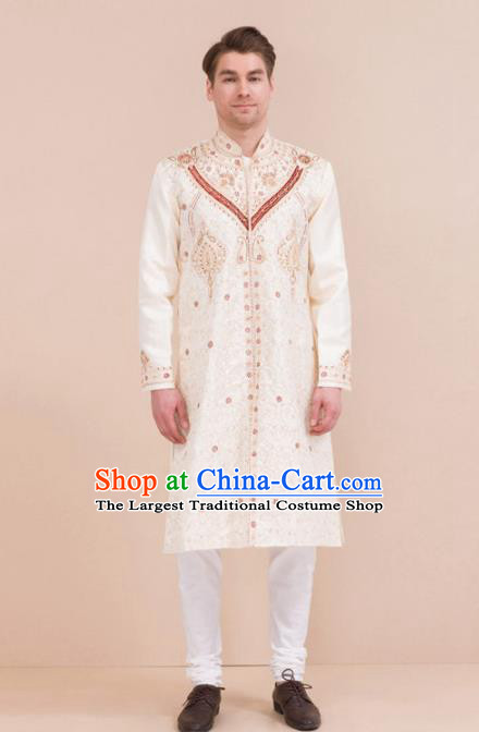 South Asian India Traditional Costume White Coat and Pants Asia Indian National Suit for Men