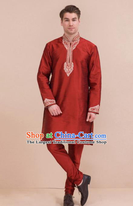 South Asian India Traditional Costume Purplish Red Coat and Pants Asia Indian National Suit for Men