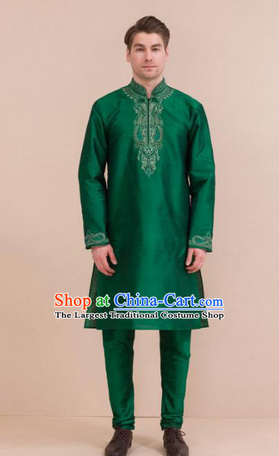 South Asian India Traditional Costume Green Coat and Pants Asia Indian National Suit for Men