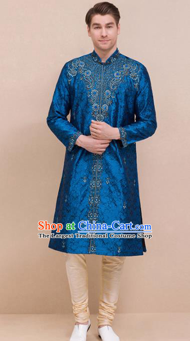 South Asian India Traditional Costume Peacock Blue Coat and Pants Asia Indian National Suit for Men