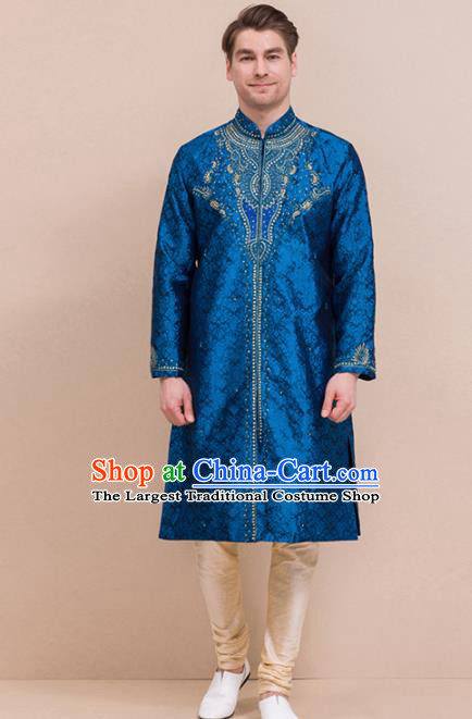 South Asian India Traditional Costume Deep Blue Coat and Pants Asia Indian National Suit for Men