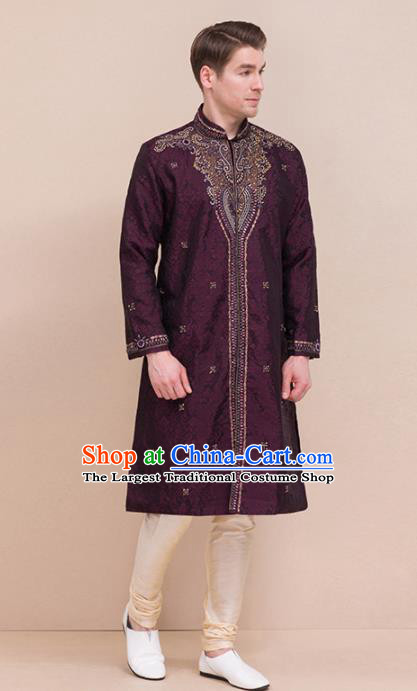 South Asian India Traditional Costume Purple Coat and Pants Asia Indian National Suit for Men