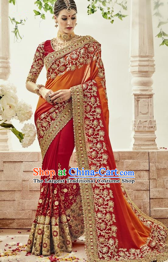 Asian India Traditional Wedding Embroidered Sari Dress Indian Bollywood Court Bride Costume for Women