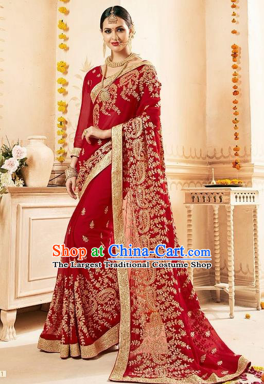 Asian India Traditional Court Queen Sari Dress Indian Bollywood Bride Costume for Women