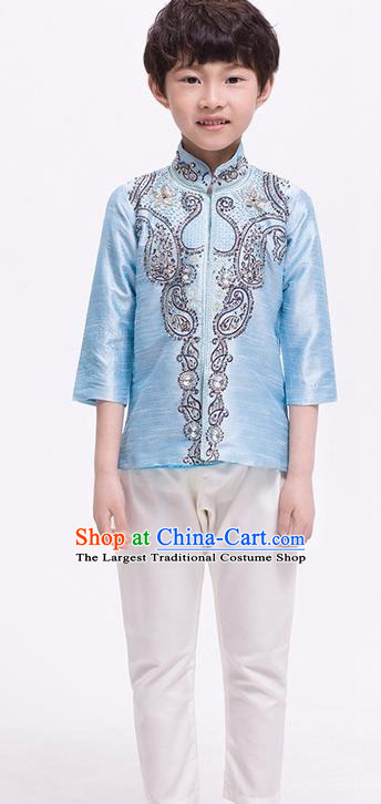 South Asian India Traditional Costume Blue Shirt and Pants Asia Indian National Suit for Kids