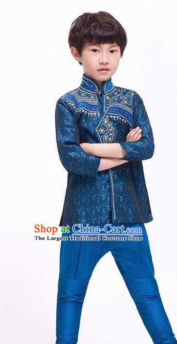 South Asian India Traditional Costume Navy Shirt and Pants Asia Indian National Suit for Kids