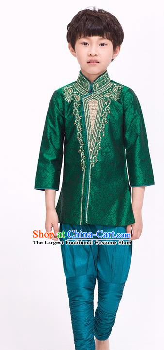 South Asian India Traditional Costume Green Shirt and Pants Asia Indian National Suit for Kids