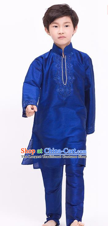 South Asian India Traditional Costume Royalblue Shirt and Pants Asia Indian National Suit for Kids