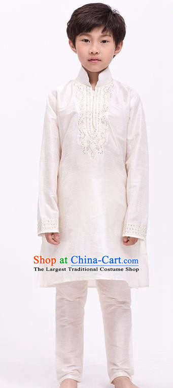 South Asian India Traditional Costume Beige Shirt and Pants Asia Indian National Suit for Kids
