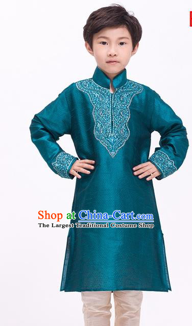 South Asian India Traditional Costume Peacock Green Shirt and Pants Asia Indian National Suit for Kids