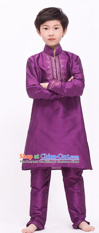 South Asian India Traditional Costume Purple Shirt and Pants Asia Indian National Suit for Kids