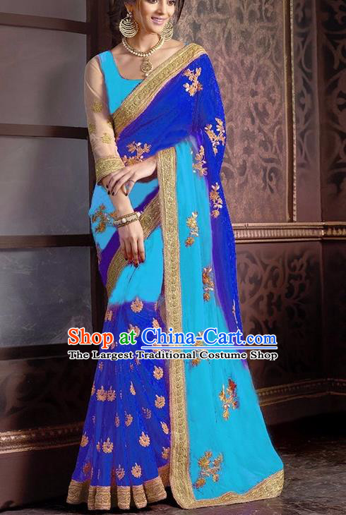 Indian Traditional Blue Sari Dress Asian India Court Princess Bollywood Embroidered Costume for Women