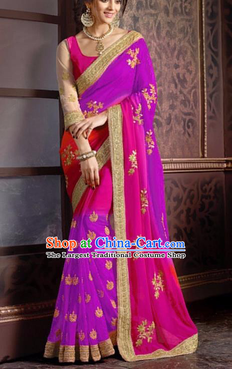 Indian Traditional Rosy Sari Dress Asian India Court Princess Bollywood Embroidered Costume for Women