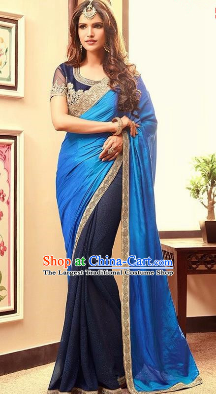 Indian Traditional Royalblue Sari Dress Asian India Court Princess Bollywood Embroidered Costume for Women