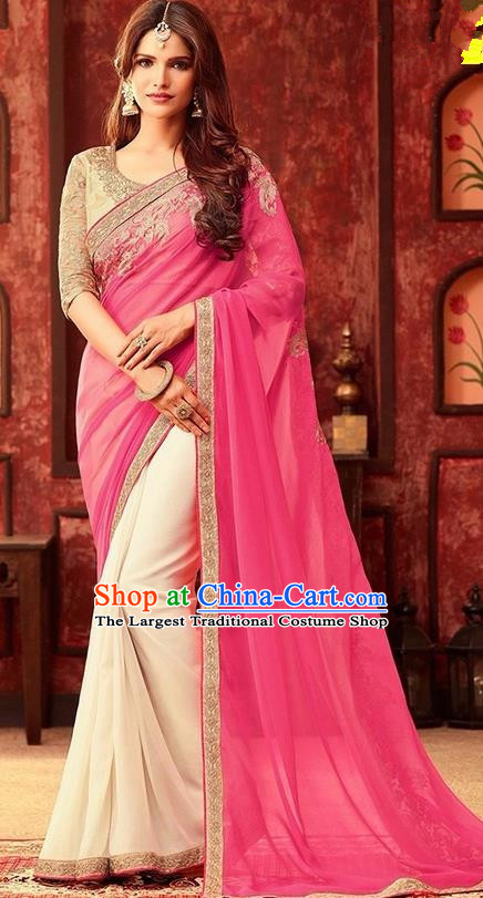 Indian Traditional Light Pink Sari Dress Asian India Court Princess Bollywood Embroidered Costume for Women