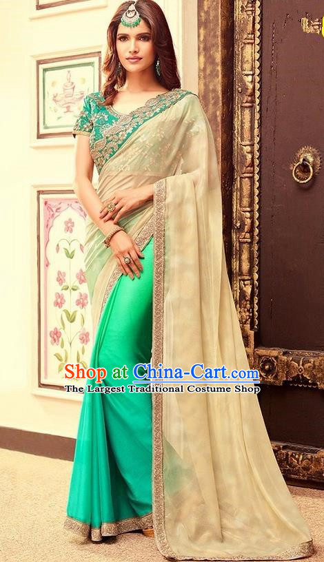 Indian Traditional Green Sari Dress Asian India Court Princess Bollywood Embroidered Costume for Women