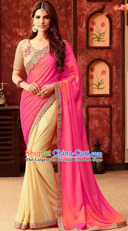 Indian Traditional Court Rosy Sari Dress Asian India Princess Bollywood Embroidered Costume for Women