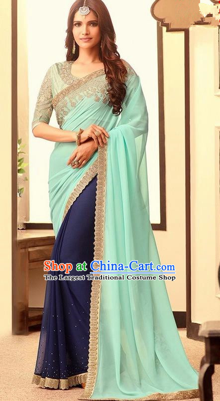 Indian Traditional Court Light Green Sari Dress Asian India Princess Bollywood Embroidered Costume for Women