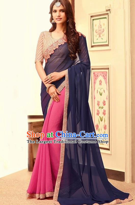 Indian Traditional Court Navy Blue Sari Dress Asian India Princess Bollywood Embroidered Costume for Women