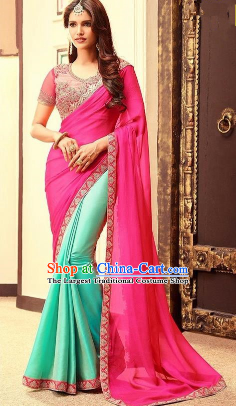 Indian Traditional Court Rosy Veil Sari Dress Asian India Princess Bollywood Embroidered Costume for Women
