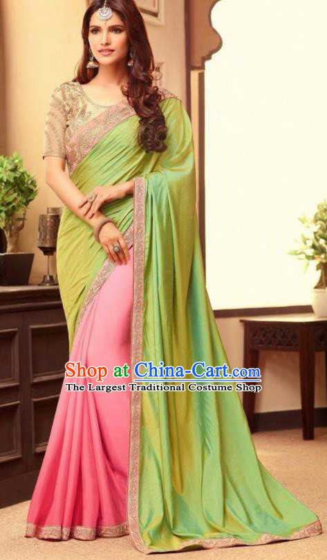 Indian Traditional Court Green Sari Dress Asian India Princess Bollywood Embroidered Costume for Women