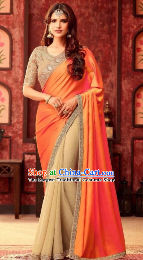 Indian Traditional Court Orange Sari Dress Asian India Princess Bollywood Embroidered Costume for Women
