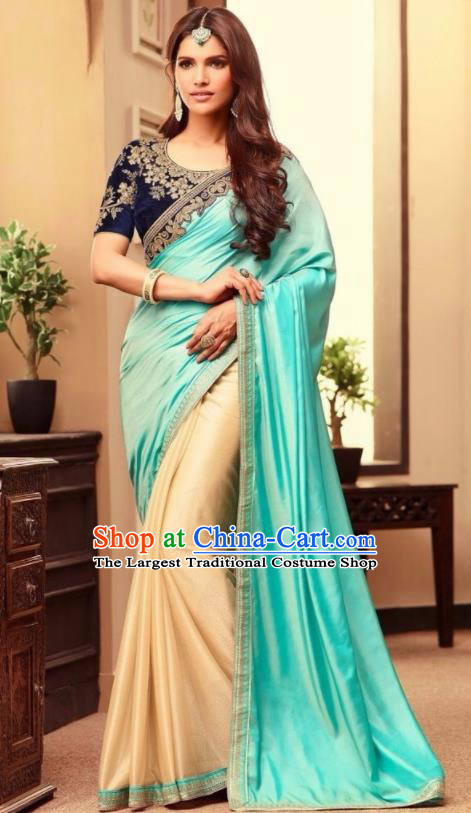 Indian Traditional Court Blue Sari Dress Asian India Princess Bollywood Embroidered Costume for Women