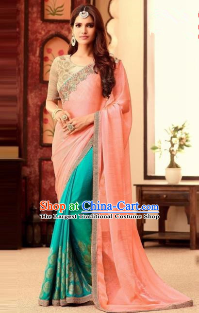 Indian Traditional Court Pink Sari Dress Asian India Princess Bollywood Embroidered Costume for Women