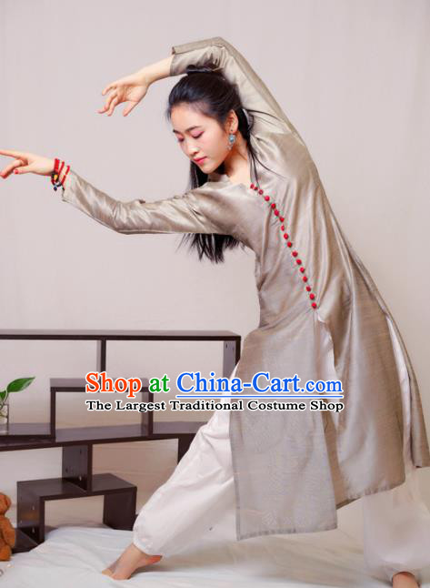 South Asian India Traditional Punjabi Grey Dress Costume Asia Indian National Costume for Women