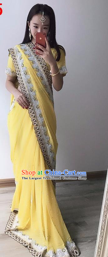 Indian Traditional Court Princess Yellow Sari Dress Asian India Bollywood Embroidered Costume for Women