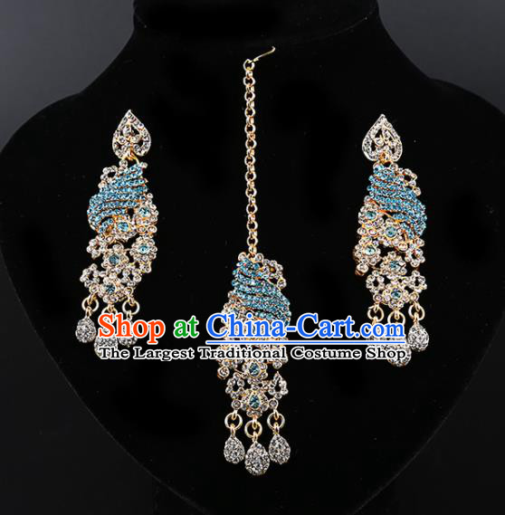 Asian India Traditional Wedding Jewelry Accessories Indian Bollywood Blue Crystal Earrings and Eyebrows Pendant for Women