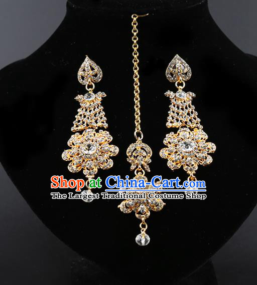 India Traditional Wedding Jewelry Accessories Indian Bollywood Crystal Tassel Earrings and Eyebrows Pendant for Women