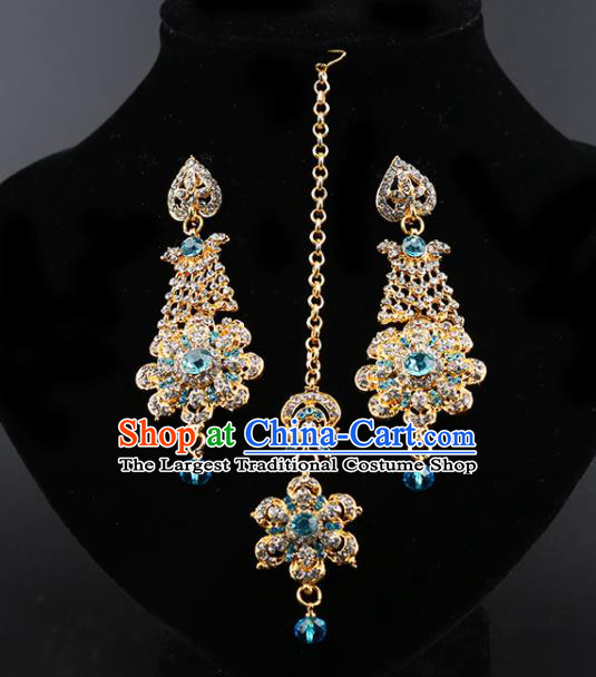 India Traditional Wedding Jewelry Accessories Indian Bollywood Blue Crystal Tassel Earrings and Eyebrows Pendant for Women