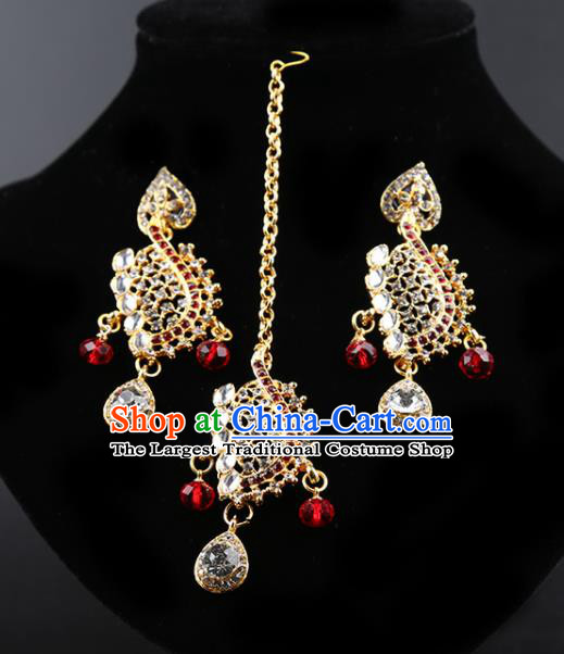 Indian Bollywood Wedding Crystal Earrings and Eyebrows Pendant India Traditional Court Princess Jewelry Accessories for Women