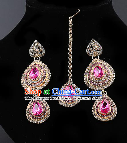 Indian Traditional Bollywood Pink Crystal Earrings and Eyebrows Pendant India Court Princess Jewelry Accessories for Women