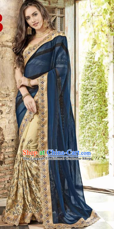 Asian India Traditional Navy Sari Dress Indian Bollywood Court Bride Costume Complete Set for Women