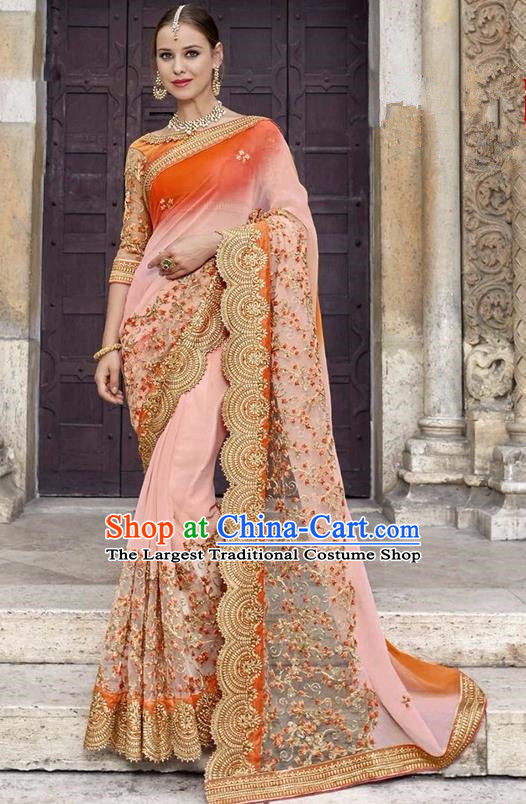 Asian India Traditional Court Princess Embroidered Pink Sari Dress Indian Bollywood Bride Costume for Women