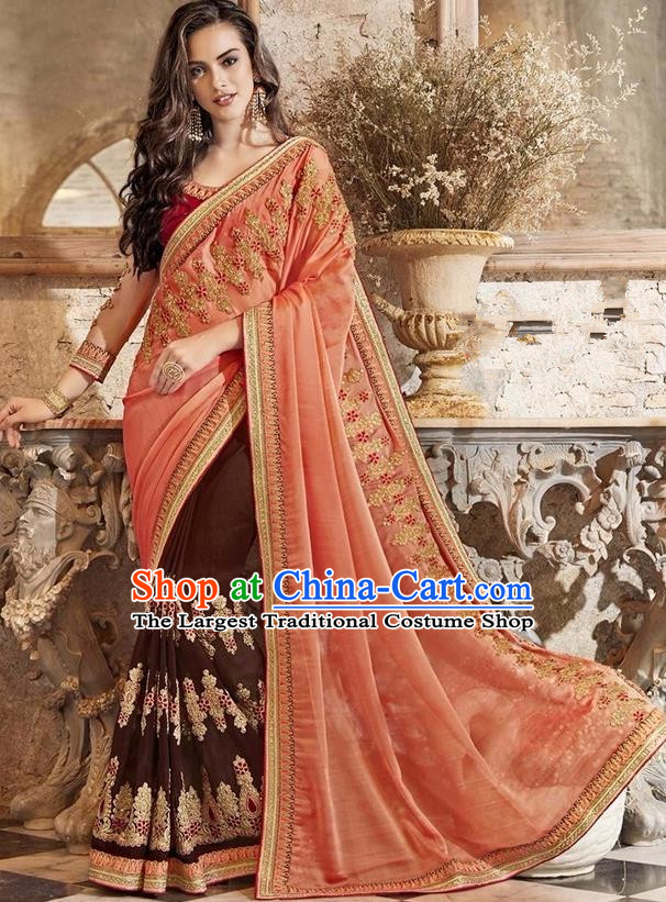 Asian India Traditional Court Princess Embroidered Orange Sari Dress Indian Bollywood Bride Costume for Women