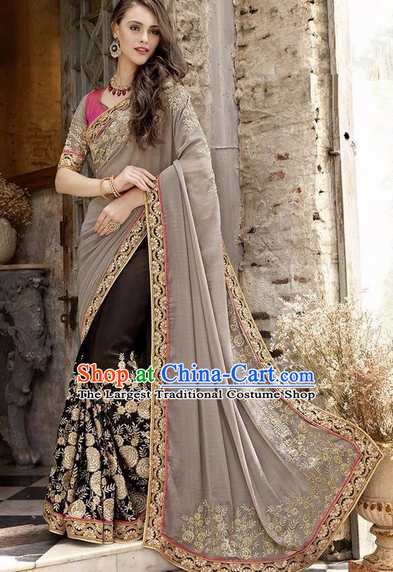 Asian India Traditional Court Princess Embroidered Brown Sari Dress Indian Bollywood Bride Costume for Women