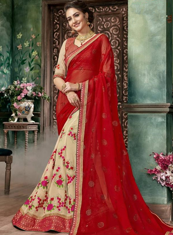 Asian India Traditional Court Princess Embroidered Red Sari Dress Indian Bollywood Bride Costume for Women
